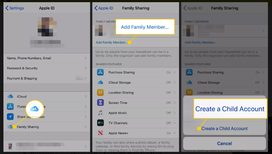 Steps to create apple id for child